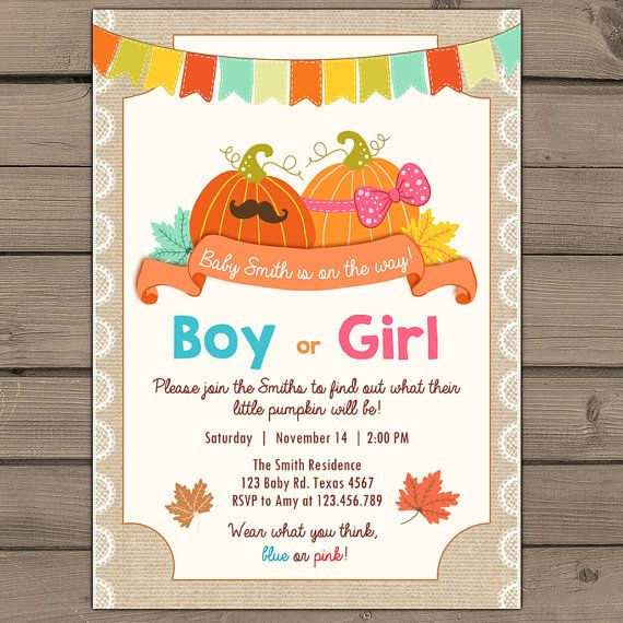 Pumpkin Gender Reveal Party invitation reveal by Anietillustration