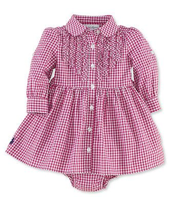 Ralph Lauren Baby Girls Dress, Baby Girls Cotton Dress - Kids Baby Girl (0-24 months) - Macy's