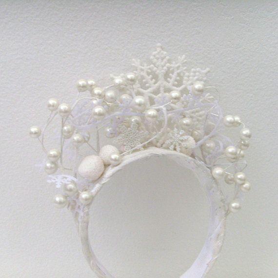 Winter Snow Queen Headband / White Snowflakes Pearl White Berries Winter Bride Wedding Fashion...Love it....!!!