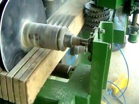 Prototipo de sierra multiple con alimentador de brazo radial. primer corte. Prototype of multiple circular gang saw, first cut. prototipe de scie circulaire ...