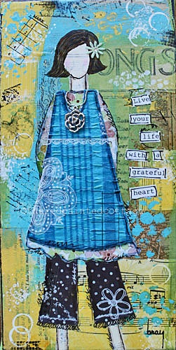 Girl Art -  5 X 10.5 inch Print of a Reproduction of an Original Mixed Media Painting, Live Your Life With A Grateful Heart