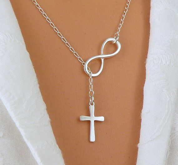 I LOVE THIS!!! STERLING SILVER Infinity and Cross Necklace by SaraAndJane, $31.00
