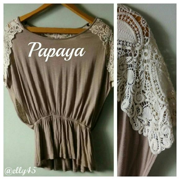 Beige Top w/ Lace Shoulders FRESHLY DRY CLEANED  Elastic waistband and pretty lace makes this a very feminine top. Wear it with jeans or a skirt. Some piling on right back from carrying my bag. See last photo. Smoke/pet-free home. ✈✈ Fast Shipping ✈✈  20% off BUNDLE DISCOUNT EVERYDAY!  Thanks for browsing my closet! Papaya Tops