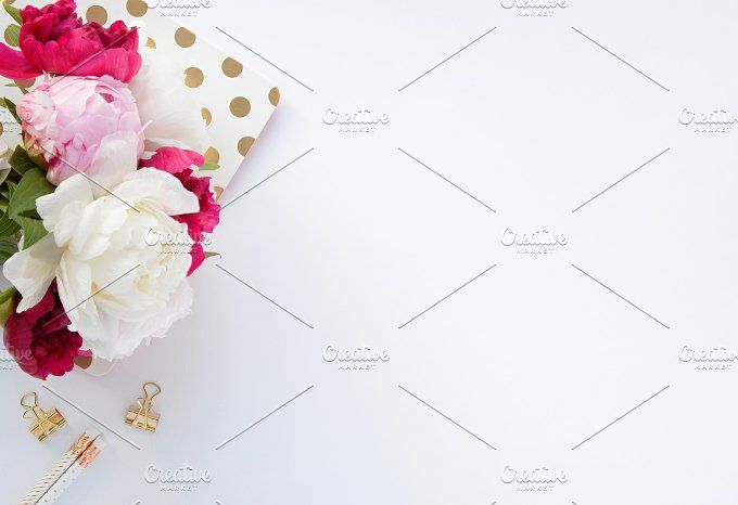 Styled stock photo - desk scene, Pink flowers, Peonies, White Background