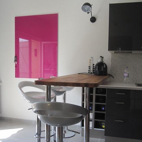 Tableau magnétique en verre rose fushia - Chat Board