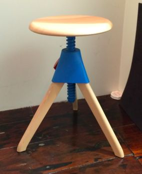 Tom and Jerry stool. Matisse. Low stool for round table in kitchen. Colour for screw detail??