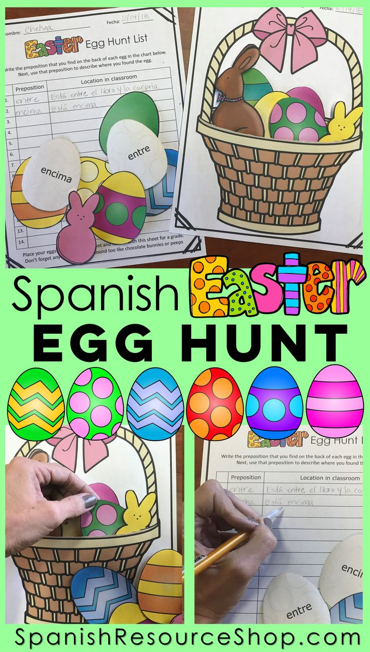 Let students hunt for Easter eggs this Easter and practice using the Spanish prepositions. So much fun!
