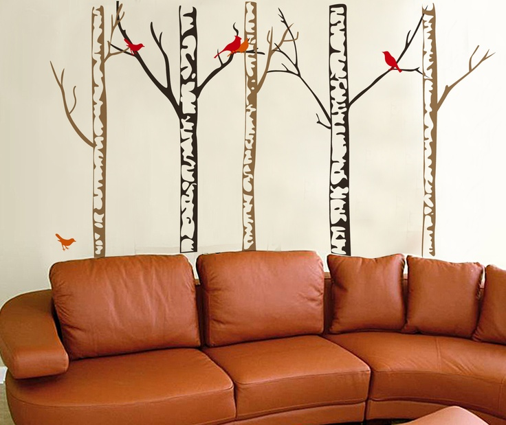 Tree Trunks And Colorful Birds, X Large Removable Extra Large Wall Decor  Decal Stickers