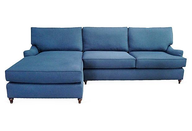 One Kings Lane - A Sophisticated Palette - Boston Left-Facing Sectional, Indigo