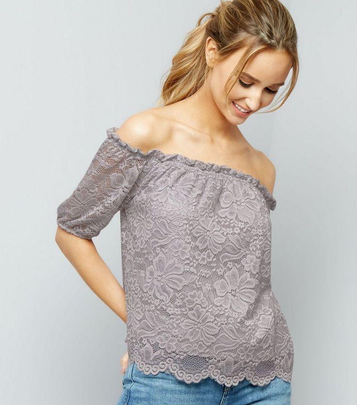 Grey Scallop Hem Lace Bardot Neck Top | New Look