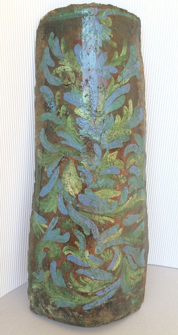 Handpainted vintage ceramic roof tile