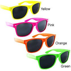 @Overstock - Protect your eyes with sunglasses  Eyewear is ideal for both men's and women's style  Men's eyewear feature a vintage-inspired design  http://www.overstock.com/Clothing-Shoes/Unisex-Neon-Plastic-Sunglasses/4081942/product.html?CID=214117 $9.29