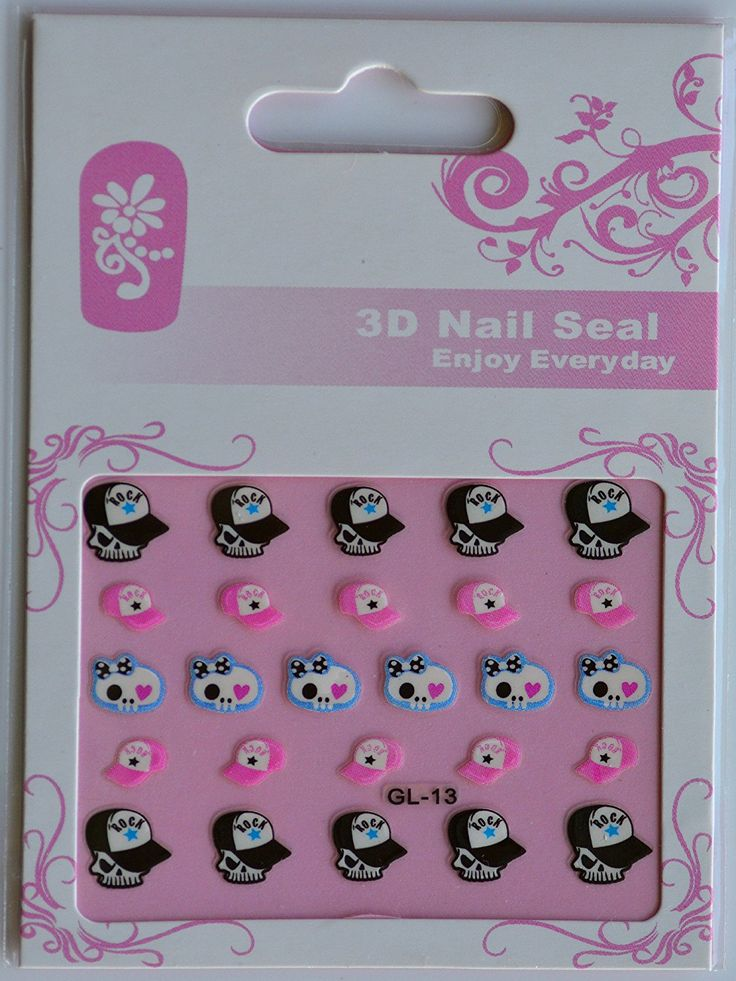 GGSELL GGSELL GL Stereoscopic 3D nail art nail decals nail stickers skull with Rock hat and pink hat * Check out this great product.