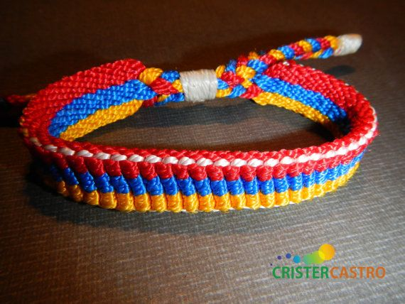 Fibre Bracelet Primary Colors Yellow Blue and by cristhercastro, $3.00