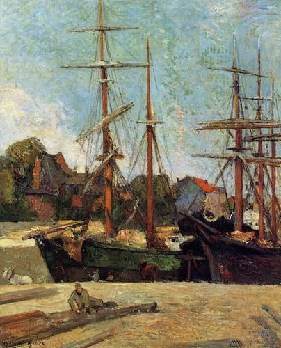 Schooner and three masters by Paul Gauguin