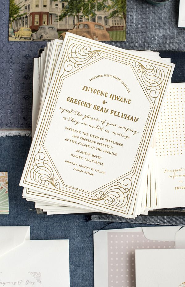 vintage gold letterpress wedding invitations by hello tenfold