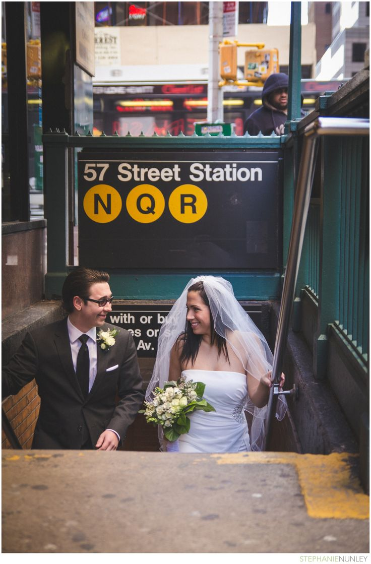 New York City Wedding Candid Portrait in the subway.