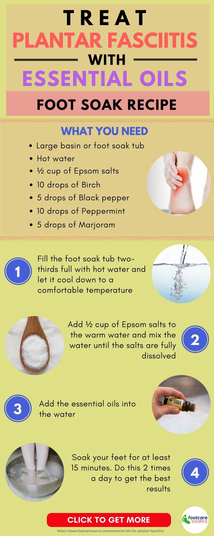 This foot soak recipe shows you how to use essential oils to effectively treat the symptoms of plantar fasciitis. Read the article to find out more about foot care tips.