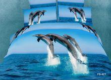 3d aqua mavi okyanus yunus yatak seti kraliçe yorgan nevresim yatak örtüsü yatak bir çanta yaprak 100% pamuk yatak çarşafları(China (Mainland))
