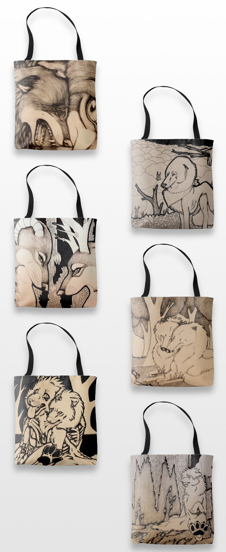 Illustrated Wolf Tote Bags  #Wolf_products #wolf_art #illustration #animals