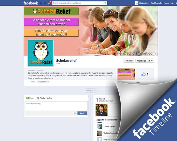 Facebook timeline line for ScholarRelief.com