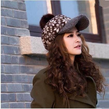 berretto da baseball del fiocco di neve per le donne bobble il cappello caldo per l'autunno