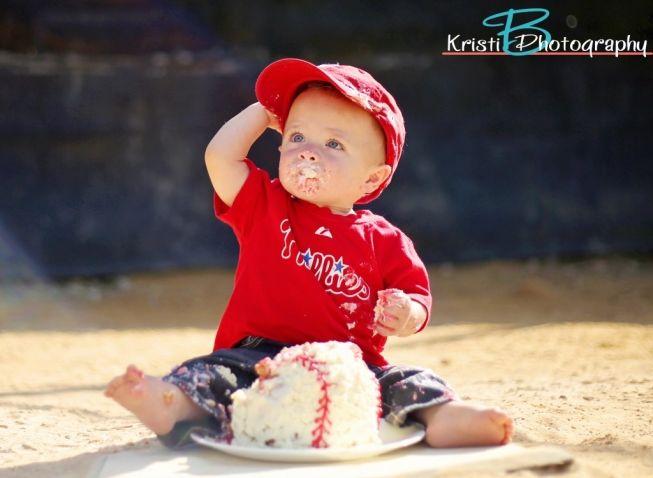 Baseball, 1st birthday, phillies, one year old portrait, smash cake, baseball smash cake