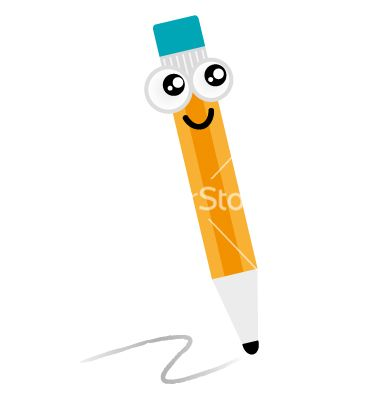 Cute happy pencil mascot isolated on white vector 1310320 - by lordalea on VectorStock®