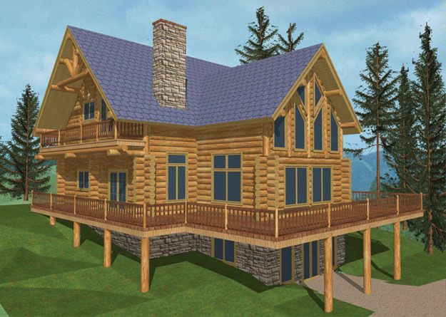 Large Vacation Log Home with an expansive wrap around deck  House Plan    451026. 13 best home images on Pinterest