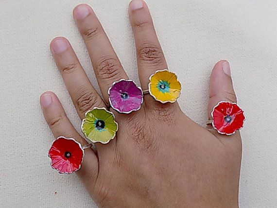 silver ringcolorful ringflower ringfor herfor teens by atermono