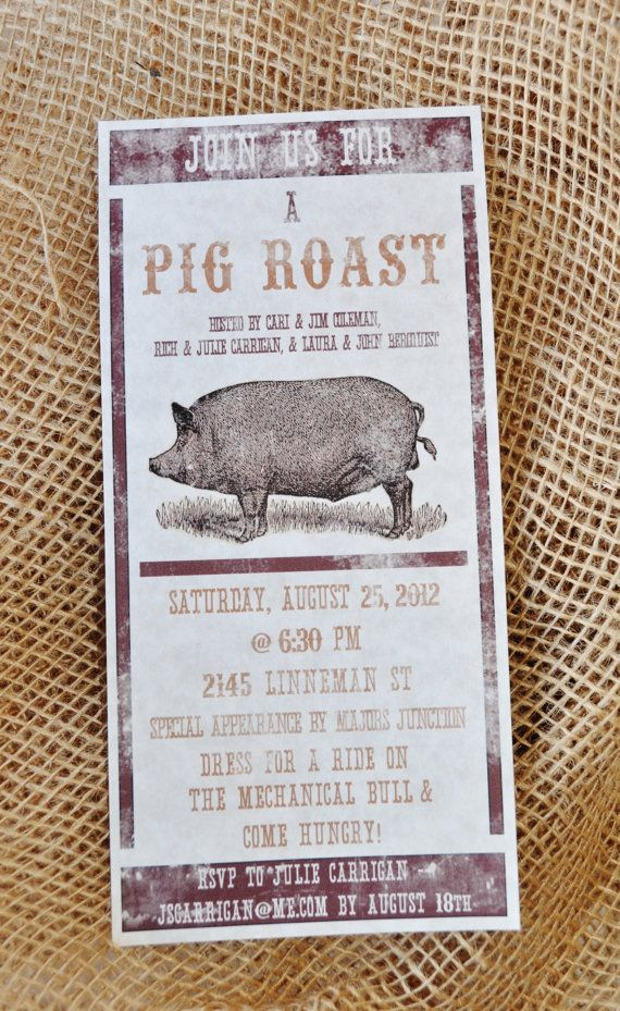 Digital OR Printed Pig Roast Party Invitation by Lexdesignsco
