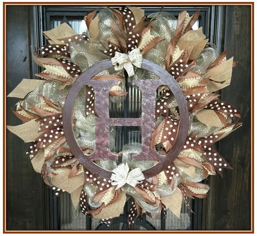"Natural Color 24"" Wreath with ""H"", the monogram wreath from Michaels!"