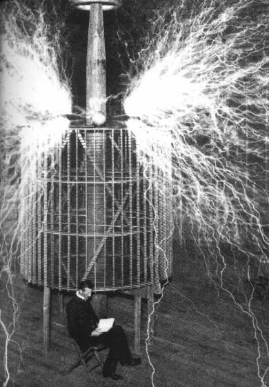 A Tesla coil is an electrical resonant transformer circuit invented by Nikola Tesla around 1891. It is used to produce high-voltage, low-current, high frequency alternating-current electricity. Tesla coils produce higher current than the other source of high-voltage discharges, electrostatic machines. Tesla experimented with a number of different configurations and they consist of two, or sometimes three, coupled resonant electric circuits.