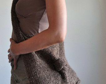 Tejida a mano de textura cable diseñador bolso por EveldasNeverland