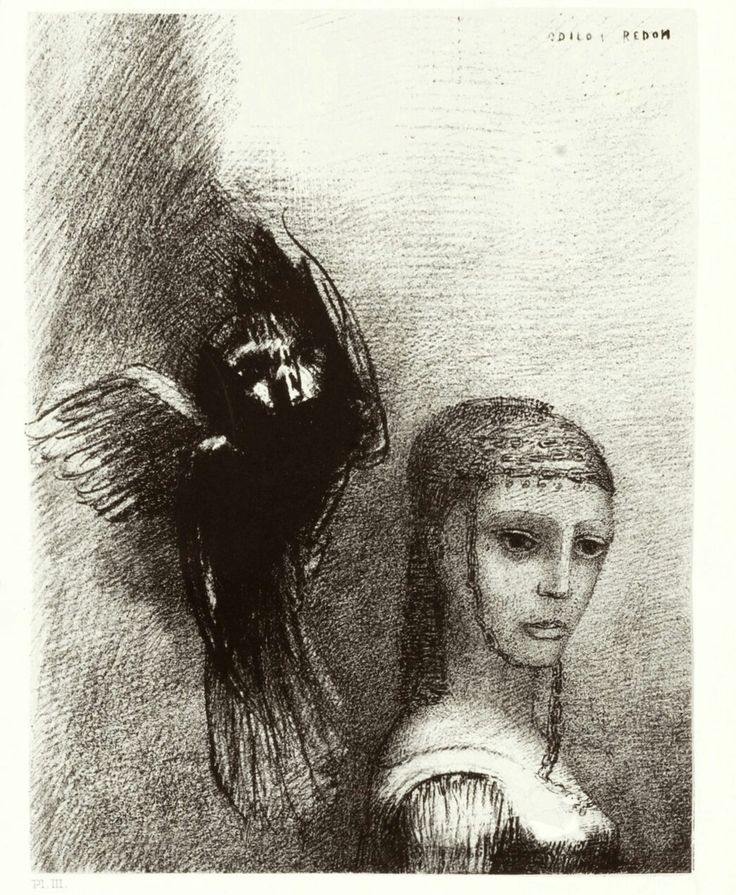 """Odilon Redon - """"…And a huge bird, descending from the sky, hurled itself against her crown of hair…"""" Plate III from the portfolio Temptation of Saint Anthony (first series). 1888"""
