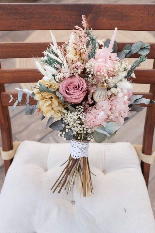 Hand Bouquet Wedding Pastel 13 In 2020 Hand Bouquet Wedding Flower Bouquet Wedding Dried Flower Bouquet