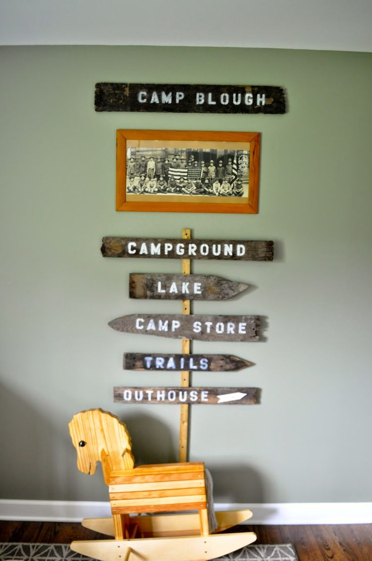 Outdoorsy, camping, boy scout nursery. Pallet Wood Camp Signs