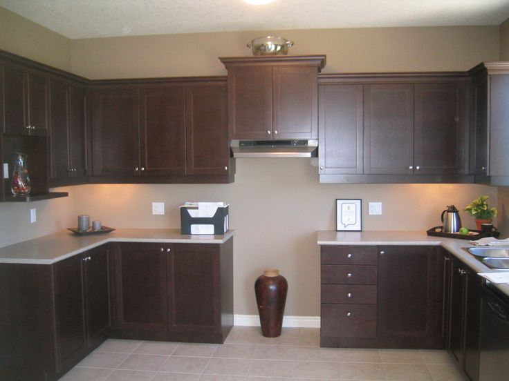 Exciting Espresso Kitchen Cabinets for Your Kitchen Remodeling Ideas: Excellent White Granite Backsplash Also Espresso Kitchen Cabinets With Drawer As Storage In White Kitchen Wall Painted Decoration Ideas