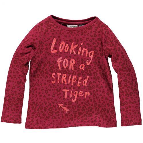 Trendy berry rood shirt van Tumble 'n Dry (model Cascade). Het panterprint shirt heeft een leuke glitter tekstprint 'Looking for a striped tiger'.