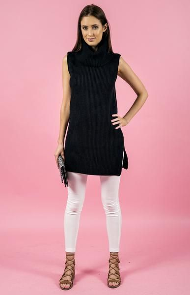 Sleeveless Turtleneck Knit Dress in Black by Style State