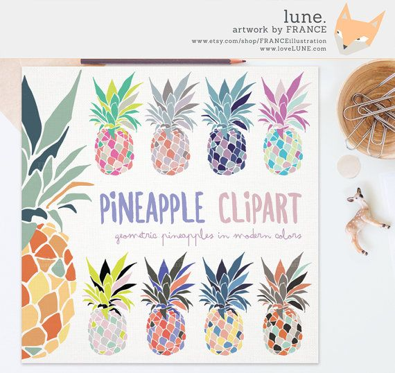 Pineapple Clipart. Ananas Clip Art. Pina by FRANCEillustration
