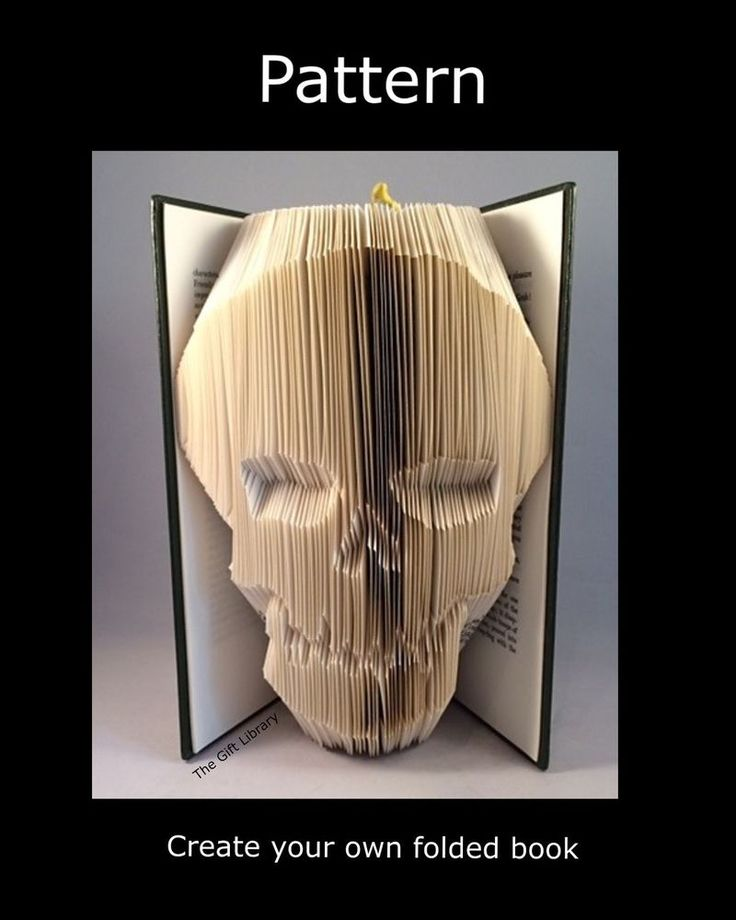 Book Folding PAttern to create your own folded book art Skull