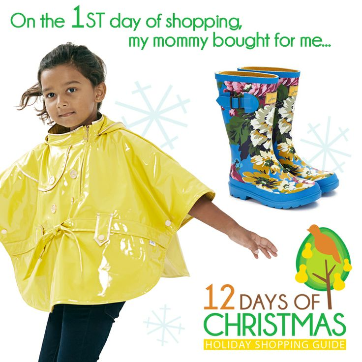 "December 12, 2013 -- TODAY ONLY 15% OFF Oil & Water Ponchos (Use discount code at checkout ""12DAYSXMAS""). Order now just in time for Christmas!  We love these Joules welly boots too!"