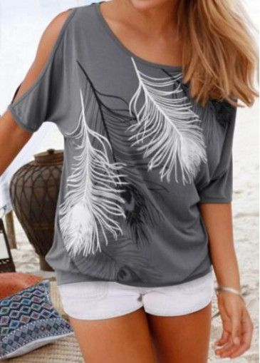 Grey Cold Shoulder Feather Print T Shirt on sale only US$18.16 now, buy cheap Grey Cold Shoulder Feather Print T Shirt at modlily.com