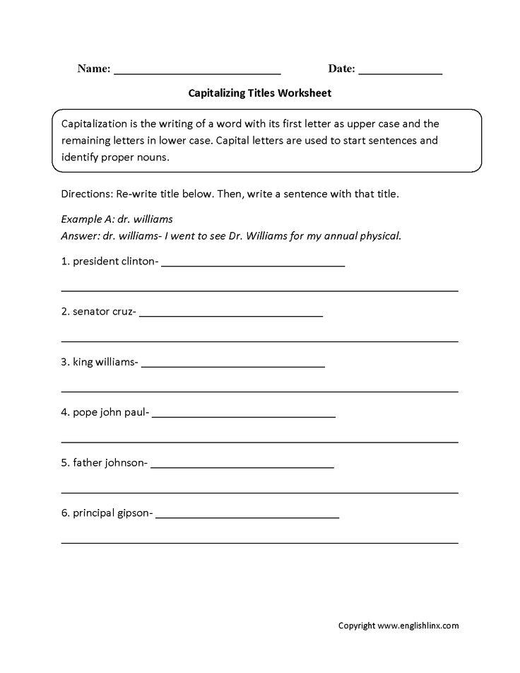 Englishlinx Com Capitalization Worksheets Capitalization Worksheets Grammar Worksheets Capitalization Worksheets 4th Grade Capitalization worksheet 7th grade