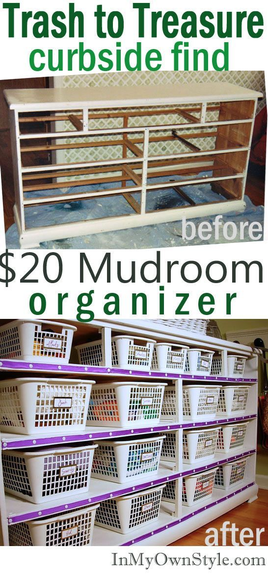 Transform a trashed dresser into a organizer to store lots of small items. Perfect for a mud room - scarves, gloves, sunglasses, per supplies, and more.  In My Own Style
