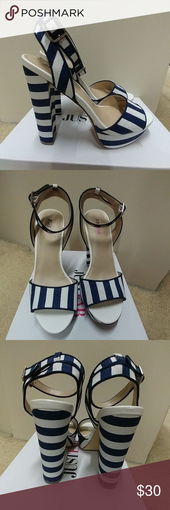 """Blue and White Striped Heel Sandal Blue and White Striped Heel from JustFab.  5.5"""" platform heel.  New in box. JustFab Shoes Sandals"""
