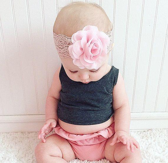 Baby Headband Pink Flower Headband Lace Headband