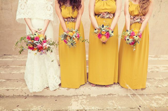 These mustard yellow #bridesmaid dresses work perfectly with this desert wedding...so pretty!  From http://greenweddingshoes.com/marfa-desert-magic-wedding-emily-colby/ Dresses by Theory Photo Credit: http://nbarrettphotography.com/