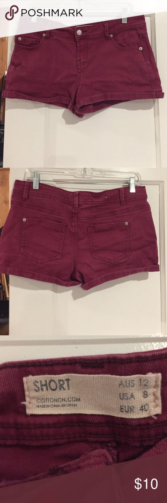 Burgundy shorts Burgundy shorts. Jean material. Worn a few times but still in great condition! Shorts